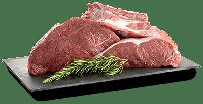 Rindfleisch auf Platte angerichtet